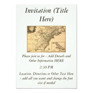 Mapa americano de las colonias del vintage 1777 invitación 11,4 x 15,8 cm