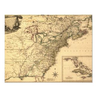 Mapa americano de las colonias del vintage 1777 invitación 10,8 x 13,9 cm