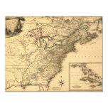 """Mapa americano de las colonias del vintage 1777 invitación 4.25"""" x 5.5"""""""