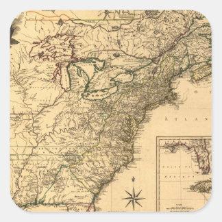 Mapa americano de las colonias del vintage 1777 pegatina cuadrada