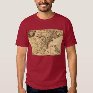 Mapa americano de las colonias del vintage 1777 playera