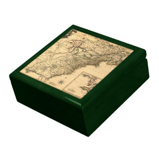 Mapa americano de las colonias del vintage 1777 po caja de joyas