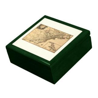 Mapa americano de las colonias del vintage 1777 po cajas de regalo