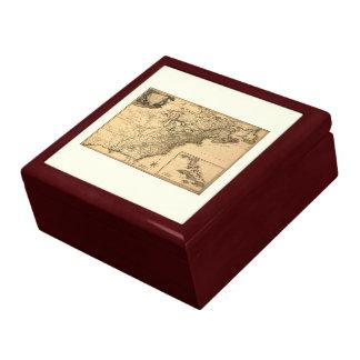 Mapa americano de las colonias del vintage 1777 po cajas de joyas