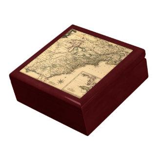 Mapa americano de las colonias del vintage 1777 po caja de recuerdo