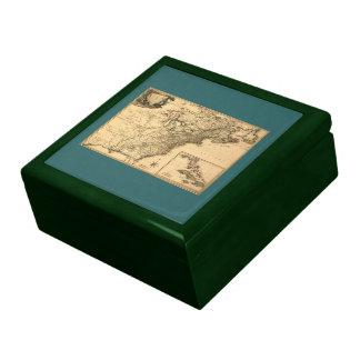 Mapa americano de las colonias del vintage 1777 po cajas de recuerdo