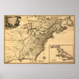 Mapa americano de las colonias del vintage 1777 po poster
