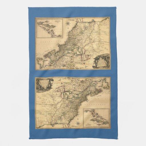 Mapa americano de las colonias del vintage 1777 po toalla de mano