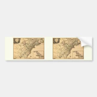 Mapa americano de las colonias del vintage 1777 po pegatina para auto