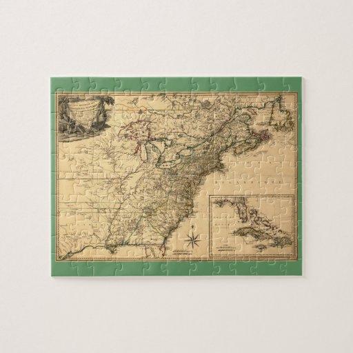 Mapa americano de las colonias del vintage 1777 po rompecabezas
