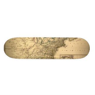Mapa americano de las colonias del vintage 1777 po skate board