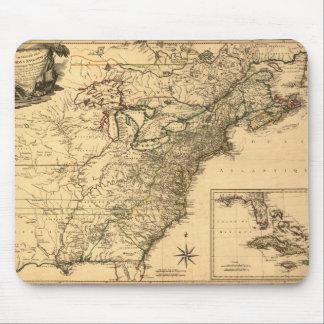 Mapa americano de las colonias del vintage 1777 po tapetes de ratón