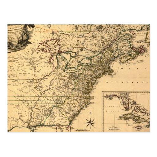 Mapa americano de las colonias del vintage 1777 po tarjetas postales