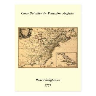 Mapa americano de las colonias del vintage 1777 postal