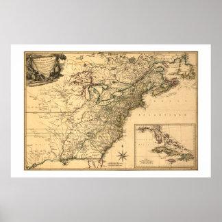 Mapa americano de las colonias del vintage 1777 póster