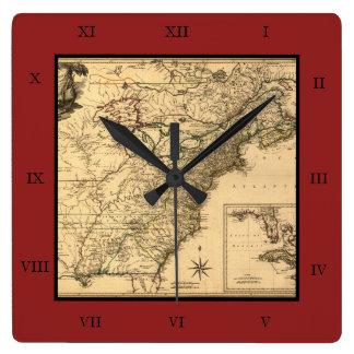 Mapa americano de las colonias del vintage 1777 reloj cuadrado