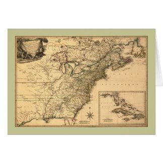 Mapa americano de las colonias del vintage 1777 tarjeta de felicitación