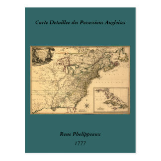 Mapa americano de las colonias del vintage 1777 tarjeta postal