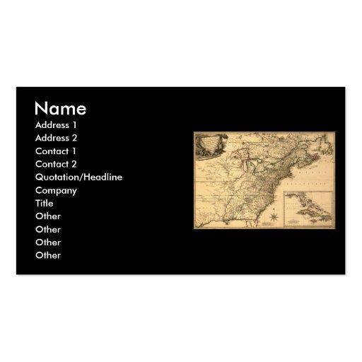 Mapa americano de las colonias del vintage 1777 tarjetas de visita