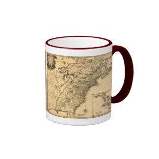 Mapa americano de las colonias del vintage 1777 taza de dos colores