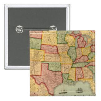 Mapa americano del ferrocarril de la unión de los  pin cuadrado