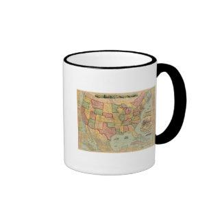 Mapa americano del ferrocarril de la unión de los taza de café