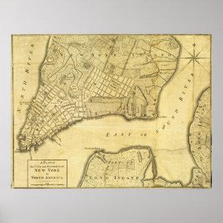 Mapa americano histórico de New York City en 1776 Impresiones