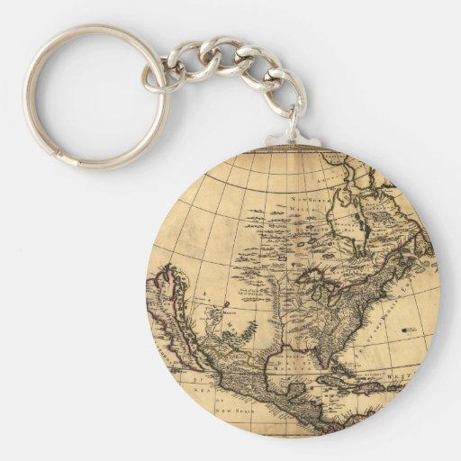 Mapa americano viejo llavero redondo tipo pin