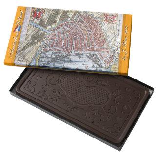 Mapa Amsterdam Holanda del vintage Barra De Chocolate Negro Grande