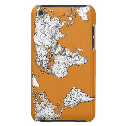 mapa anaranjado de la tierra del planeta iPod touch cárcasa
