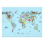 Mapa animal del mundo fotografía