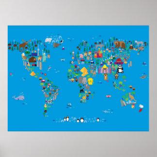 Mapa animal del mundo para los niños y los niños impresiones