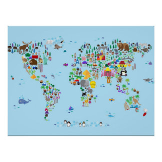 Mapa animal del mundo póster