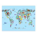 Mapa animal del mundo tarjetas postales