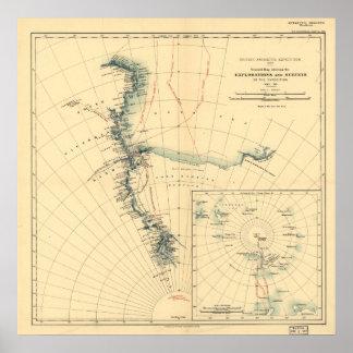 Mapa antártico 1909 de la antigüedad de la expedic póster