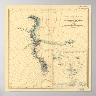 Mapa antártico 1909 de la antigüedad de la póster
