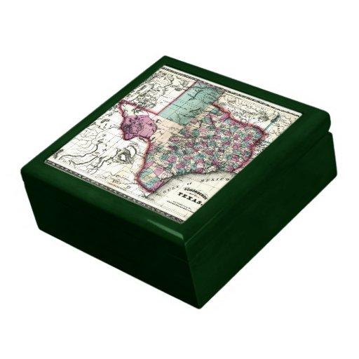 Mapa anticuario 1866 de Tejas por Schönberg y el C Caja De Recuerdo