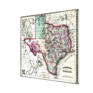 Mapa anticuario 1866 de Tejas por Schönberg y el Lienzo Envuelto Para Galerias