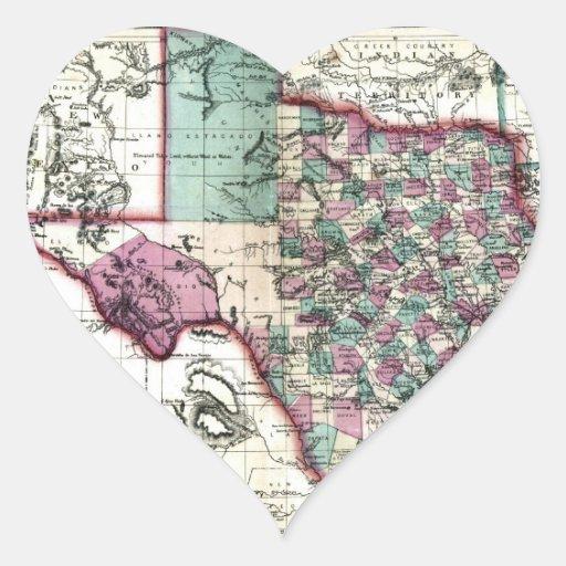 Mapa anticuario 1866 de Tejas por Schönberg y el Pegatina En Forma De Corazón