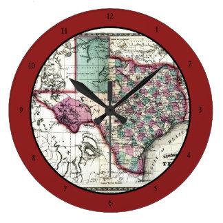 Mapa anticuario 1866 de Tejas por Schönberg y el Reloj Redondo Grande