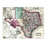 Mapa anticuario 1866 de Tejas por Schönberg y el Postal