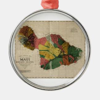 Mapa anticuario de la encuesta sobre Maui - Hawaii Adorno Navideño Redondo De Metal