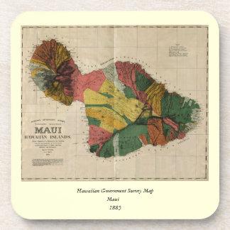Mapa anticuario de la encuesta sobre Maui - Hawaii Posavasos De Bebidas