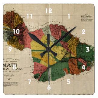 Mapa anticuario de la encuesta sobre Maui - Hawaii Reloj Cuadrado