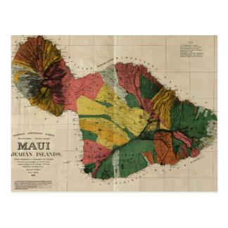 Mapa anticuario de la encuesta sobre Maui - Hawaii Tarjetas Postales