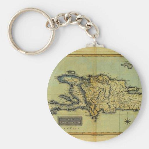 Mapa anticuario de la obra clásica 1823 de La Espa Llavero Redondo Tipo Pin