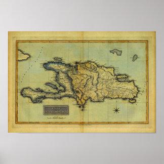 Mapa anticuario de la obra clásica 1823 de La Espa Póster
