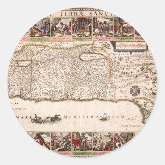 Mapa Antigo da Terra Santa, Israel Classic Round Sticker