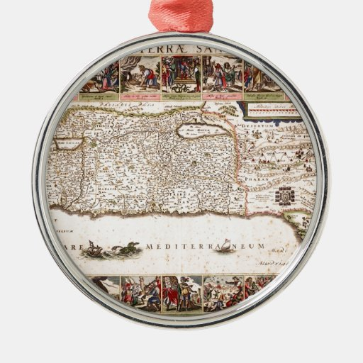 Mapa Antigo da Terra Santa, Israel Christmas Tree Ornament