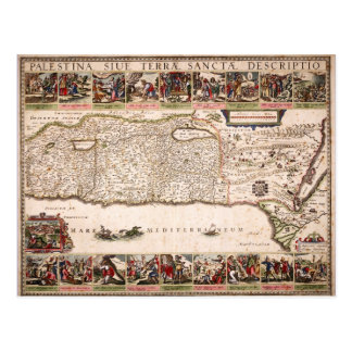 Mapa Antigo da Terra Santa, Israel Postcard